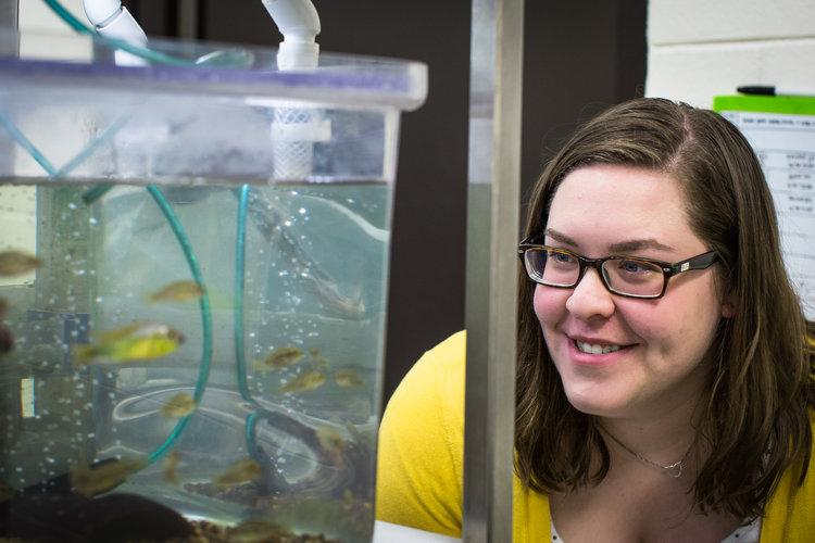 Julie Butler in Karen Maruska's fish lab at LSU. Photo by Paige Jarreau.