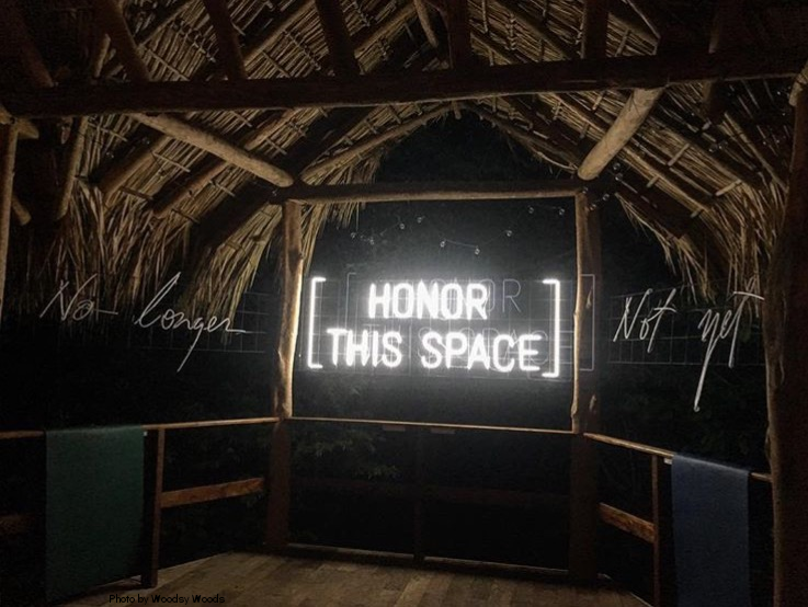 """Signs in the yoga studio commenting on time:past, present, and future. The past is """"no Longer"""". The future is """"not yet"""". What we have is the here and now and we need to """"honor this space"""". (photo courtesy of Woodsy Woods)"""