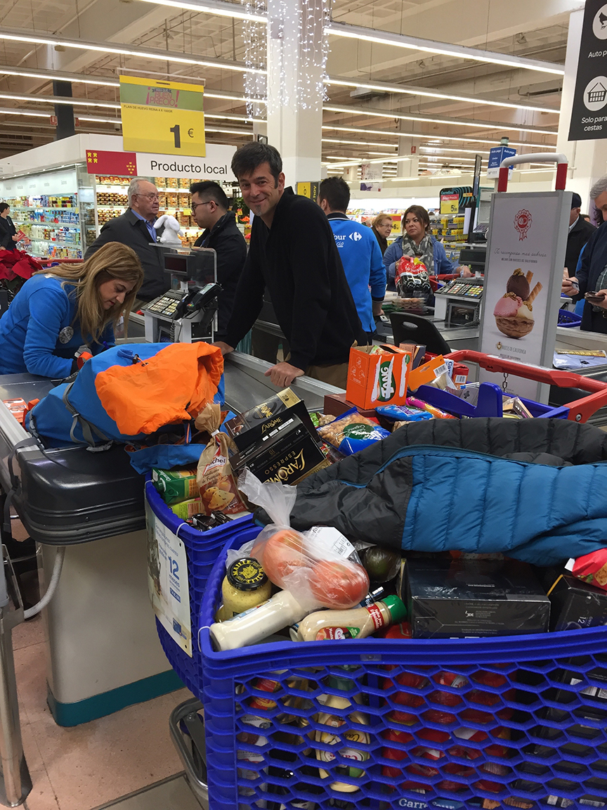 5 people x 22 day Atlantic crossing = A TON of food. 3 cart loads for this run. All the fresh food will be bought and stored a day before leaving in Gibraltar and then again in the Canary Islands. Good thing they delivered!