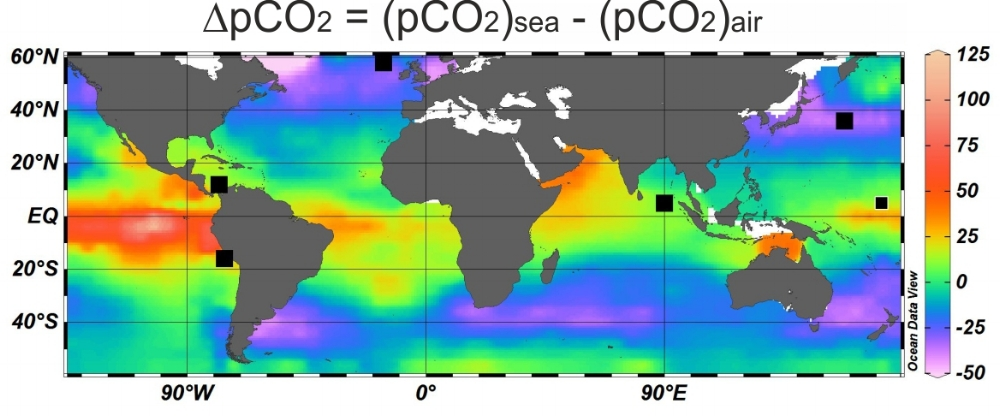 CO2 disequilibrium (DpCO2) based on the data from  Takahashi et al. (2009)