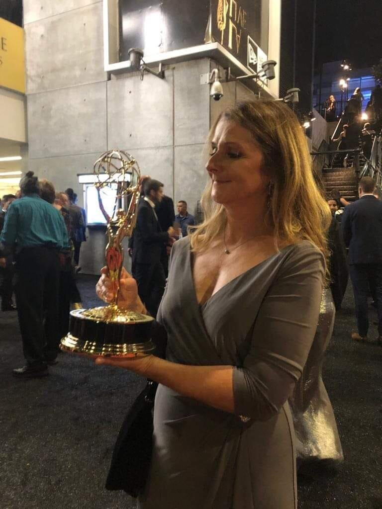 Sports Allies Board Member, Janet Smyth, with her Emmy for Emmy for Outstanding Documentary or Nonfiction Special.