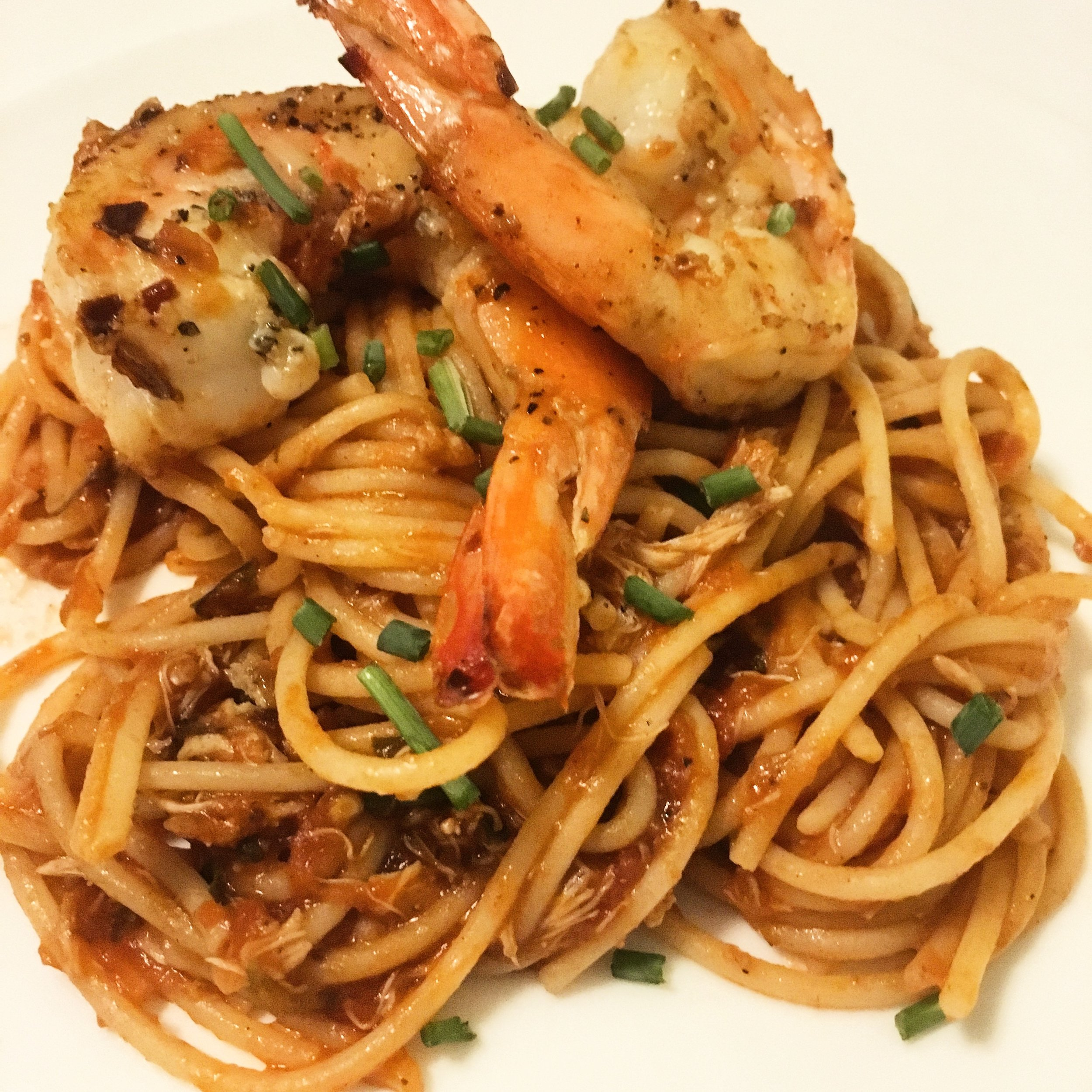 Spaghetti with Lump Crab, Gulf Shrimp, Capers and Olives