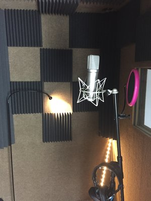 A Neumann U87 used for recording in the booth