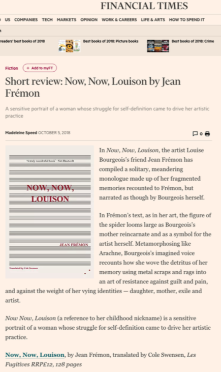 BEST BOOKS OF 2018: FICTION IN TRANSLATION ,  Financial Times,  24 November 2018