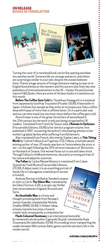 On Release Books in Translation, Antonia Charlesworth,  Big Issue North , 23 September 2019