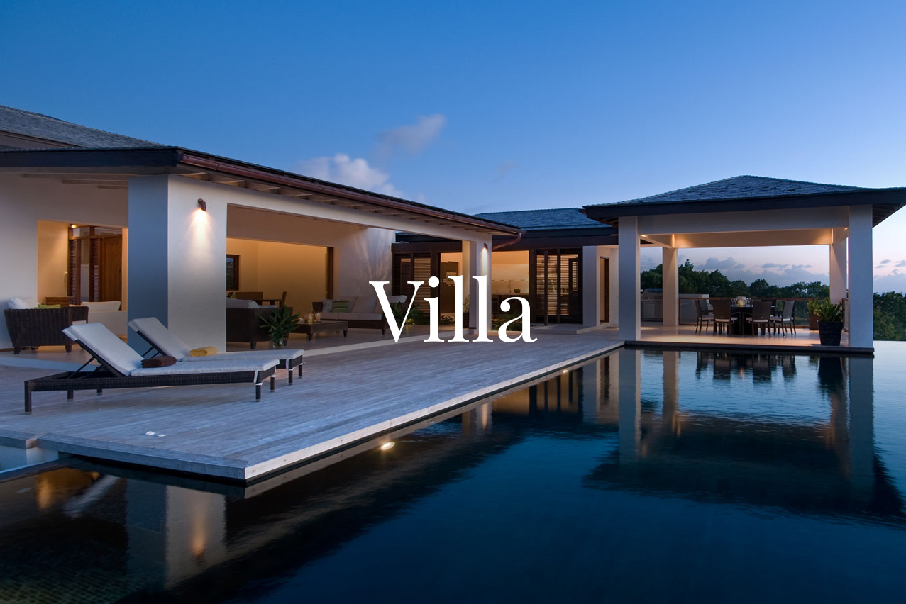 VILLA    Usually used to describe the lavishness or to denote a high-end, sophisticated level of a property, or larger size of the estate in general. They can be a Spanish Villa, French, Modern, or Mediterranean Villa. Often Villas have European features such as a courtyard.