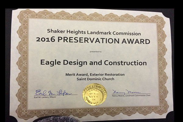 2016 Preservation Award from the Shaker Heights Landmark Commission