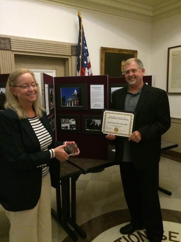 Eagle Design and Construction is the recipient of the 2016 Preservation Award from teh Shaker Heights Landmark Commission. Dan Garry gives a big thanks to the Saint Dominic Church for choosing Eagle Design for their steeple restoration project!