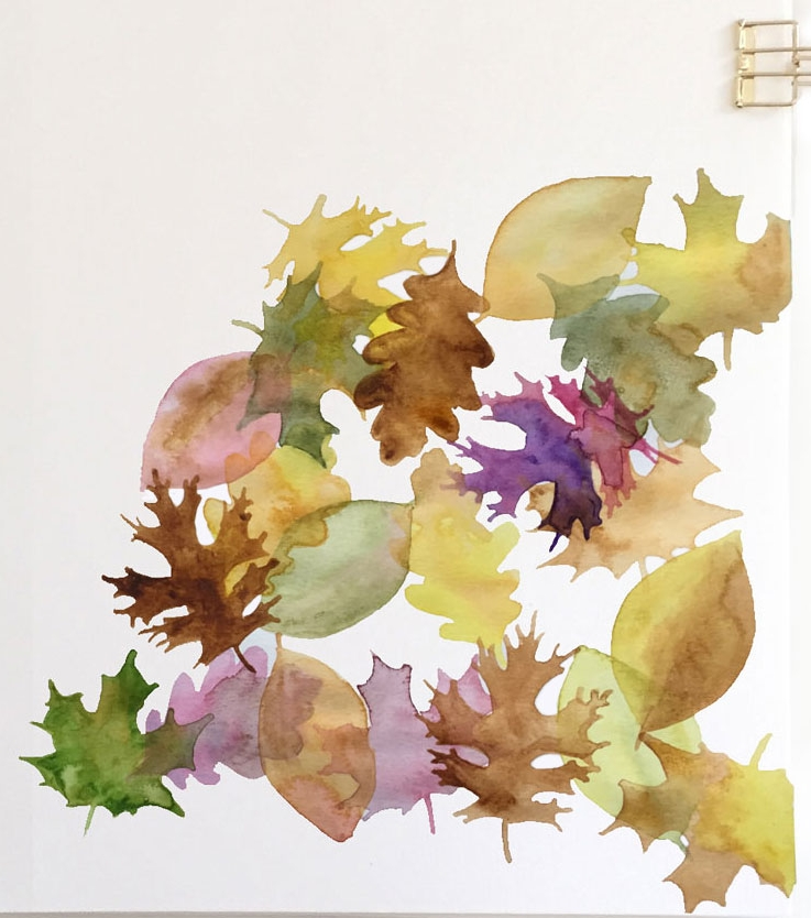 Sample of glazing Technique  Autumn Leaves layered over EACH OTHER