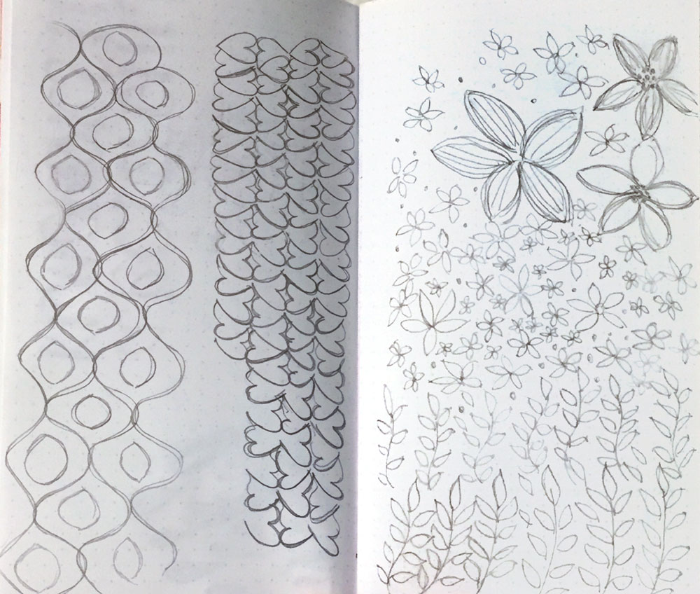 REPEATING Doodles and some FLORAL Doodles I doodled While watching TV