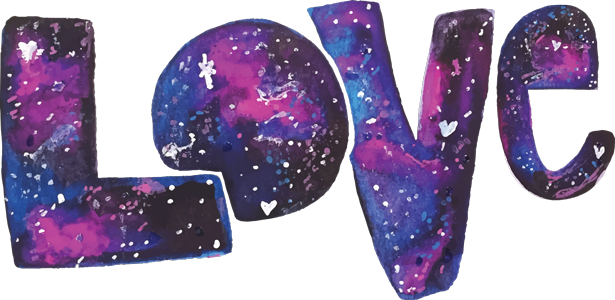 Watercolor Galaxy LOVE - Printable Valentine's Day Card