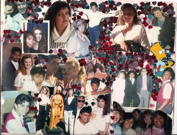 Friends + family photo collage embellished with heart confetti to fill in the gaps!