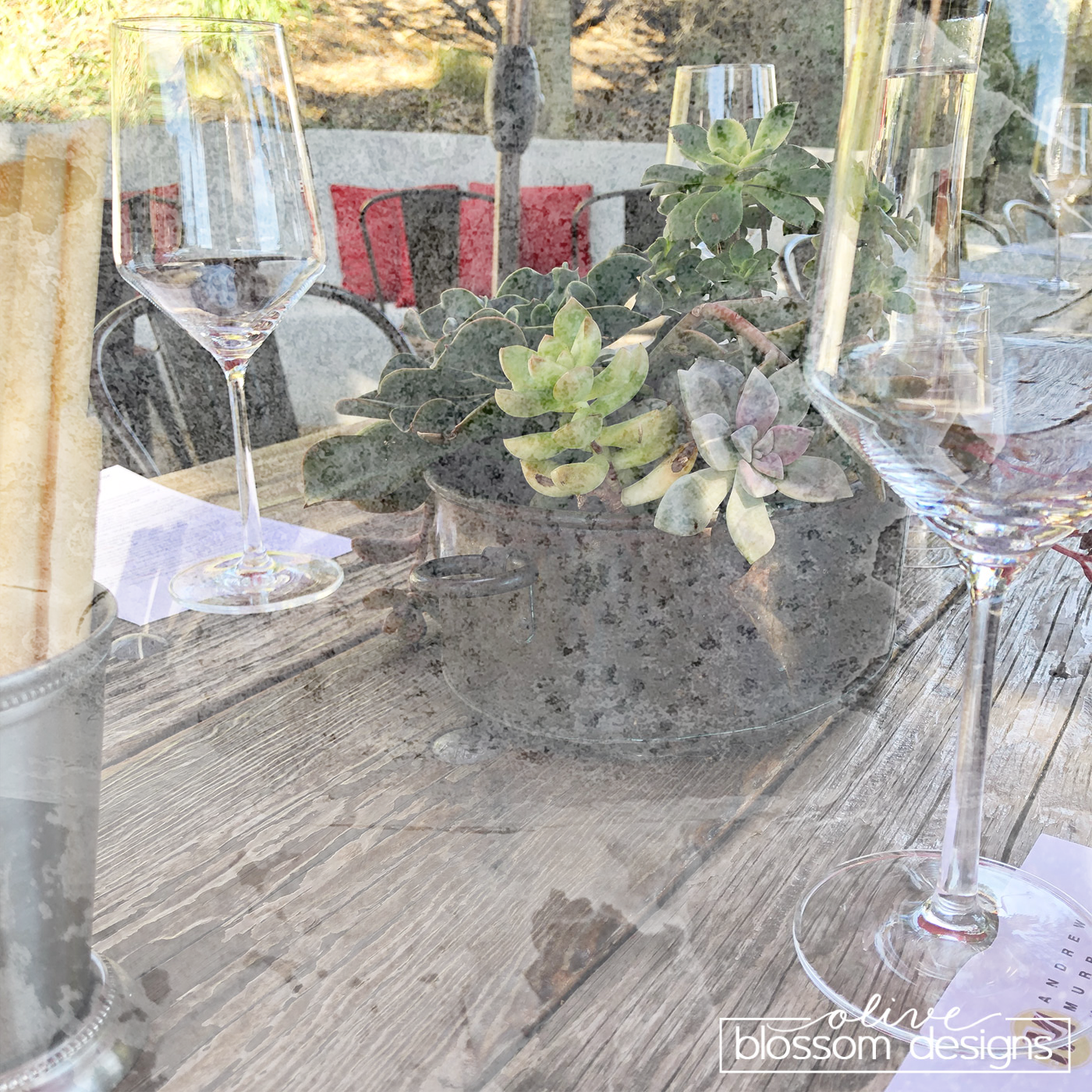 Illustrative Look - I also created this textured photo in Photoshop. This one was way easier. I layered the guard rail texture on top of my wine tasting photo, then used the Screen blend mode option and dropped the opacity down to 68%.