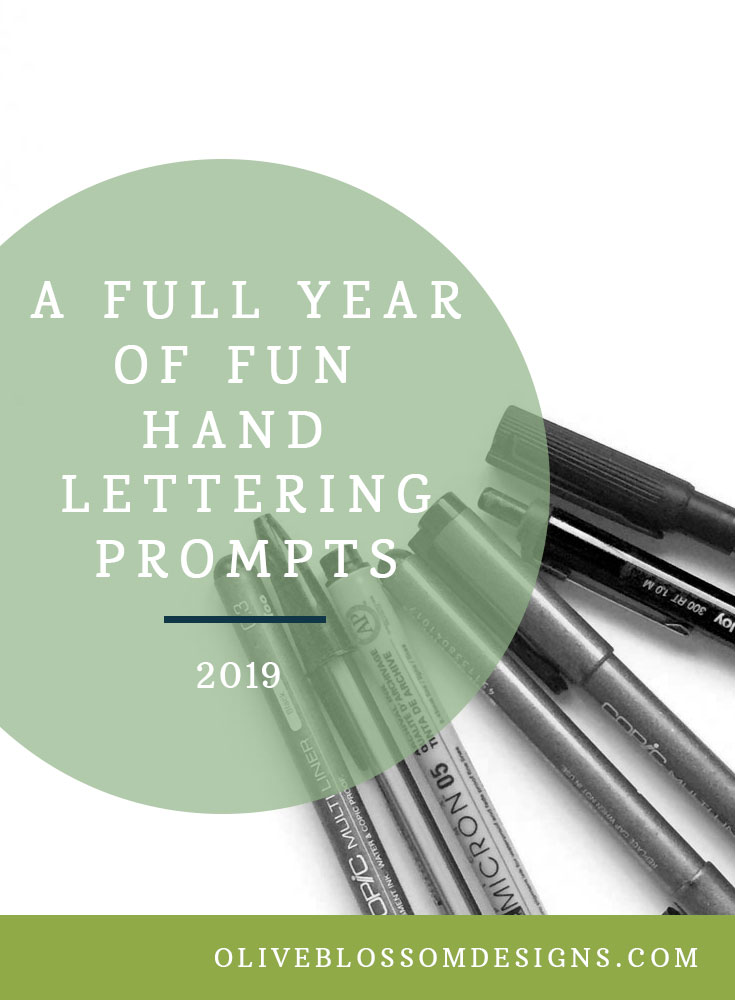 A full year of hand lettering prompts makes it easy to decide what to letter. Hand lettering challenges on Instagram is also a great way to find inspiration in a very supportive hand lettering community.