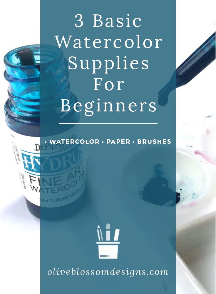 A list of watercolor supplies for beginners that outlines watercolor paint, types of watercolor paper, and various watercolor shapes and