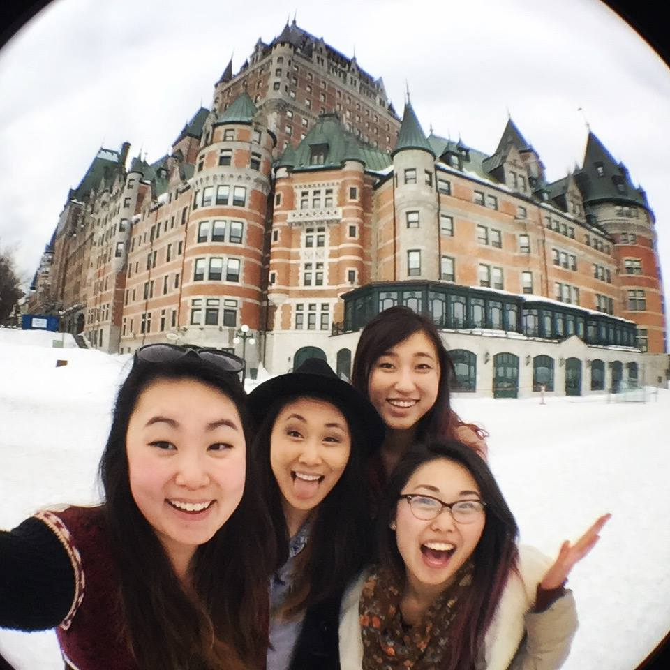 Visiting Chateau de Frontenac, Montreal with college friends
