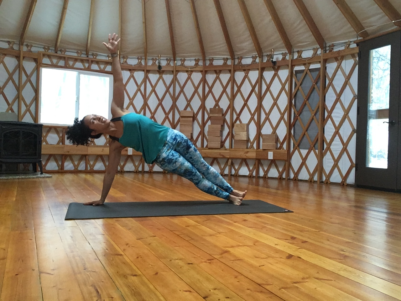 Side plank in hOMe PYM's yurt!