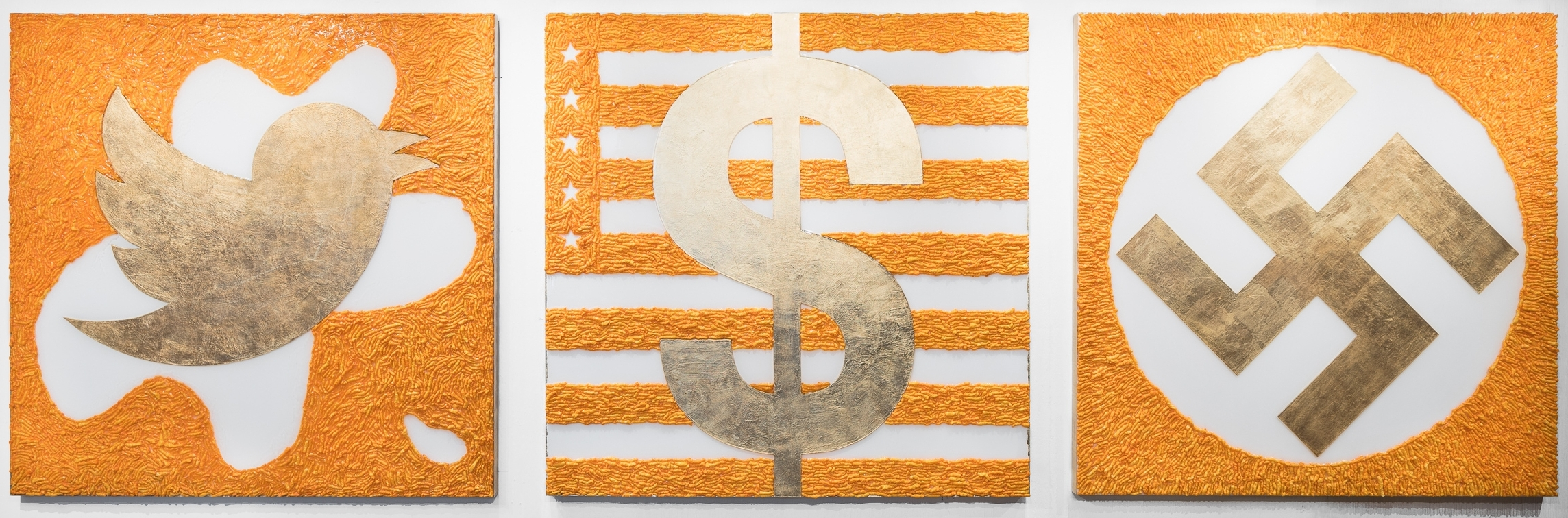 The Best Art Ever! - fake gold, Cheetos, acrylic, resin on boardHow better to treat the subject of a junk food president than by using junk food as the medium of the message? This project acts as a fundraiser for organizations resisting the Toxic Orange Agenda.