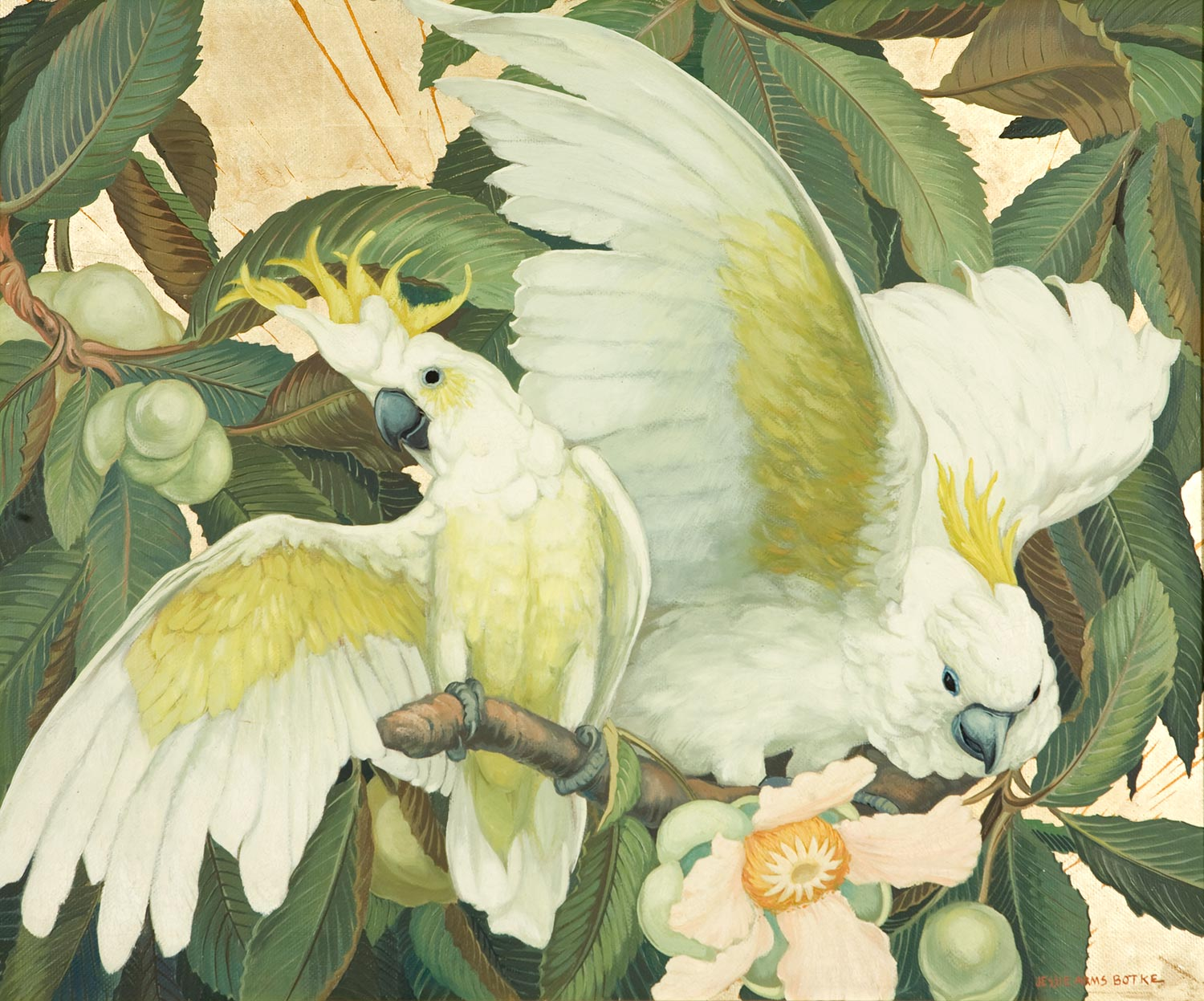 """Crested Cockatoos"" by Jessie Arms Botke"
