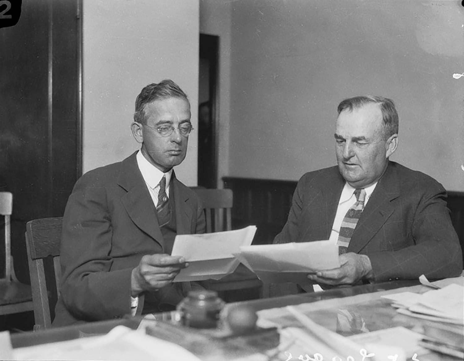 Limoneira president C.C. Teague (at right circa 1930) worked in the corner office which is now the Museum director's office.