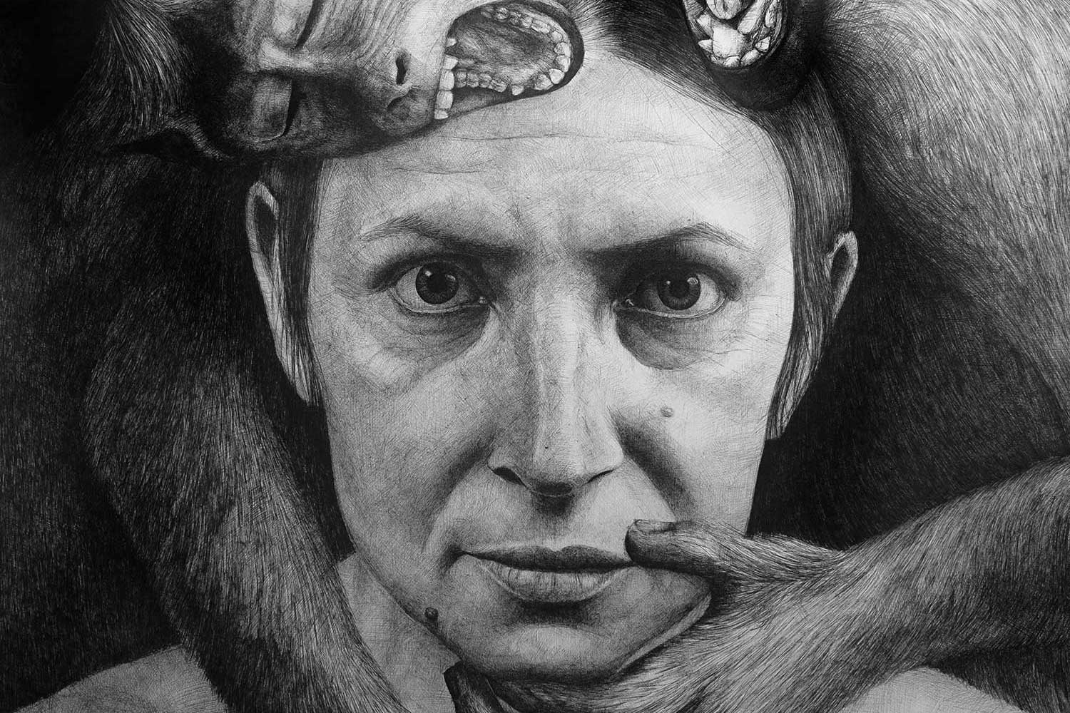 Self-Portrait with Monkeys  by Pausha Foley, 2019, pen and ink on paper, Collection of the artist.