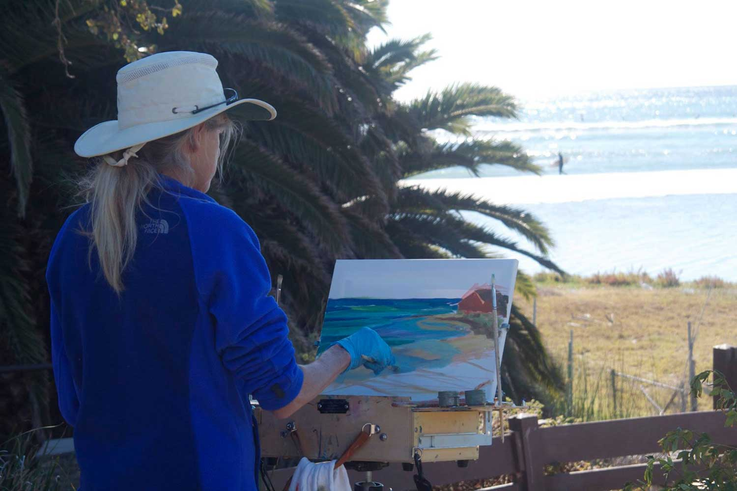 A member of Allied Artists of the Santa Monica Mountains and Seashore painting en plein air.