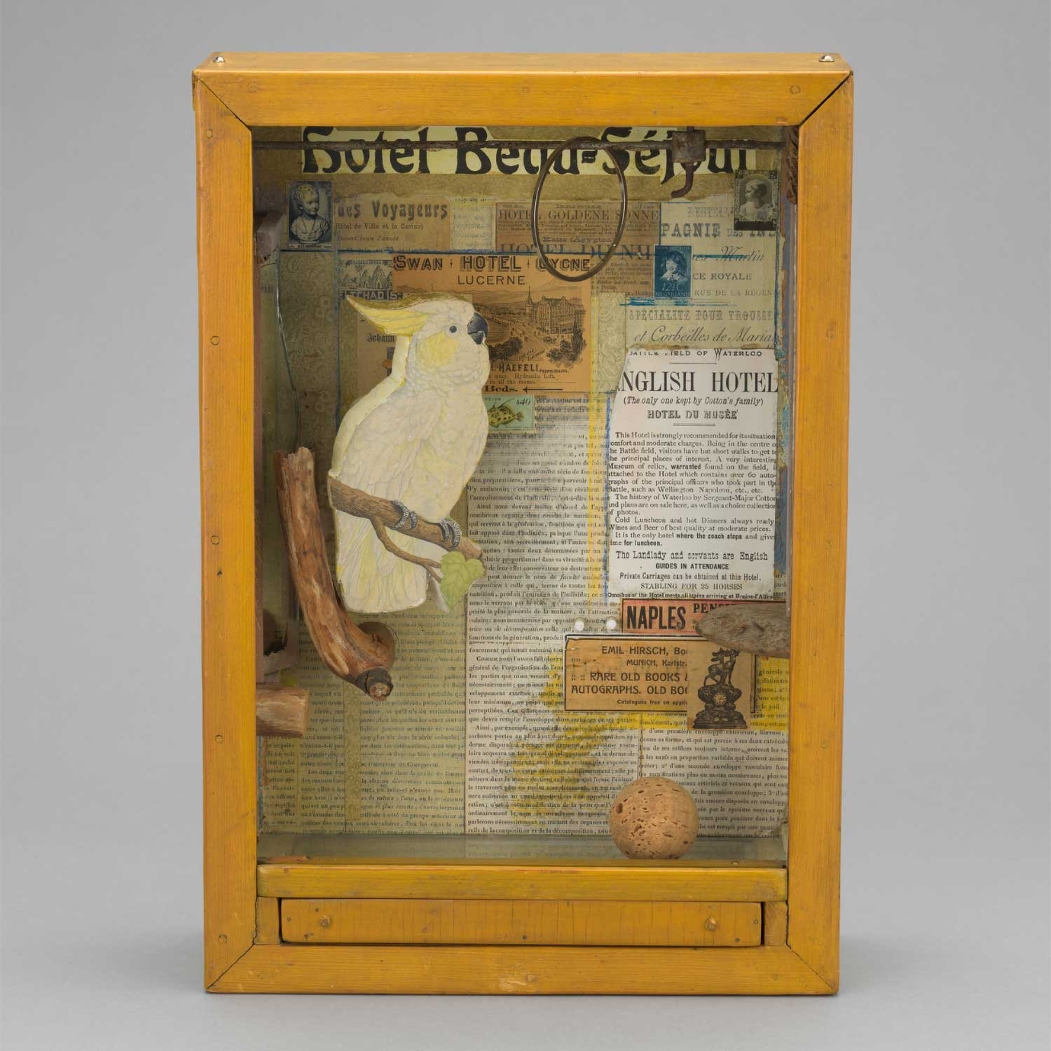 Untitled (Hotel Beau-Séjour)  by Joseph Cornell, c. 1954, mixed media assemblage, Collection of the Museum of Modern Art in New York.