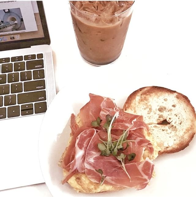 try your breakfast sandwich on a gluten-free 🥯 with our delicious silky prosciutto. available until 2pm weekdays and 3pm weekends!