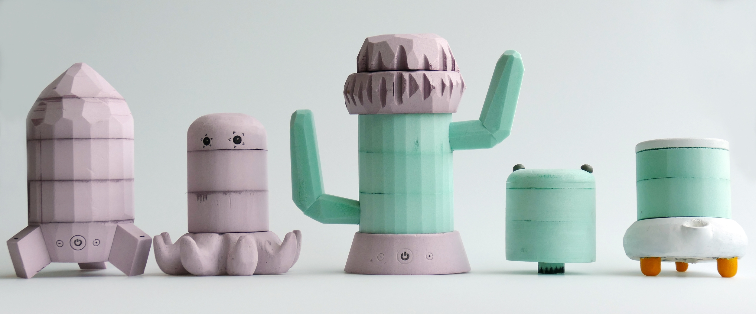 I initially began by designing playful humidifiers but quickly realized it is somewhat unfair to place an object that looks like a toy on a child 's nightstand and tell them not to play with it. I therefore chose a simpler and more neutral design that could fit in most bedrooms.