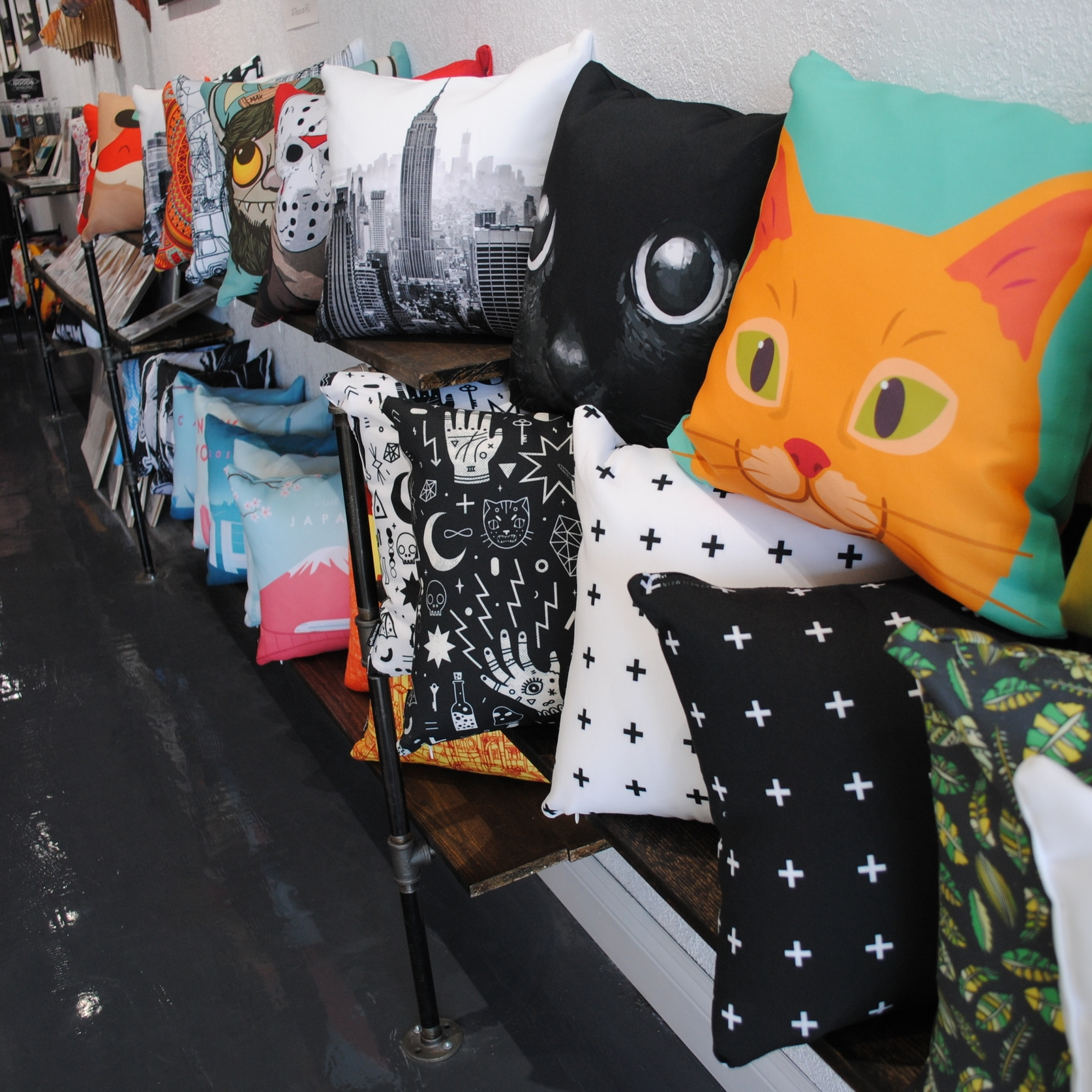 Graphic Art Pillows at The Prints and the Paper in Edmonton on 124 street