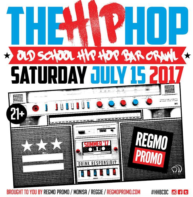 """Get your tickets now! www.hiphopbarcrawl17.eventbrite.com or www.regmopromo.comMyself and DJ Harvey Dent holding down the Finale at Pure Lounge  Bars, DJs, Specials, & Schedules:  3-6pm: PROVISION NO. 14 - 2100 14th St. NW DJ OSO FRESH - """"LOST BUT NOT FORGOTTEN"""" DRINK SPECIALS: $4 Bottles and Cans, $5 Draft Beers, $6 House Wines, $7 Draft Cocktails  4-7pm: RED LOUNGE - 2013 14th St NW DJ ESKIMO - """"KANYE v. JUST BLAZE"""" DRINK SPECIALS: $5 Heineken , $6 Jameson  5-8pm: CLOAK & DAGGER - 1359 U ST. NW BRO DJ - """"LADIES v. FELLAS"""" DRINK SPECIALS: $5 Red Stripe, $6 Margarita  6-9pm: BEN'S NEXT DOOR - 1211 U ST. NW DJ 2-TONE JONES - """"WESTSIDE!!!"""" DRINK SPECIALS: $5 Angry Orchard, $6 """"Gin and Juice""""  7-10pm: AMSTERDAM LOUNGE - 1208 U St. NW DJ NOBE - """"THE DIRTY"""" DRINK SPECIALS: $5 Corona, $6 Jack Daniels  8-11pm: PURE LOUNGE - 1326 U St NW GRAND FINALE DJ HARVEY DENT 