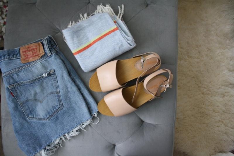 Treasure Island Flea Finds: $5 Colorful Poncho, $5 Distressed Vintage Levi shorts, $25 Sam Edelman flatforms  (retail for $55)