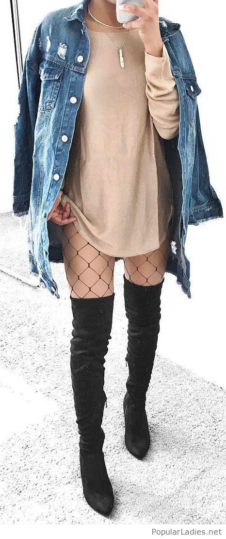 fishnet casual outfit