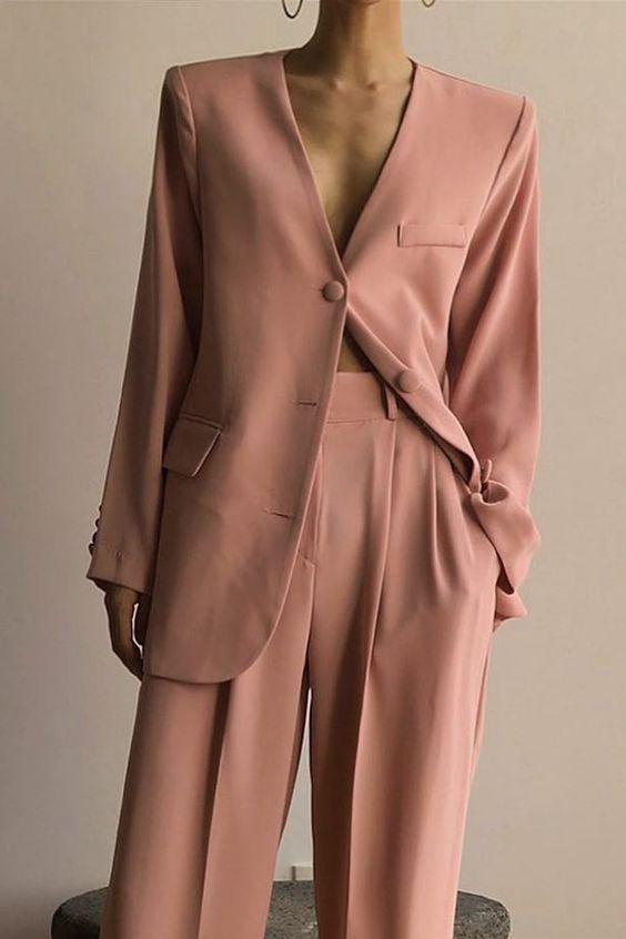 pink matching blazer suit