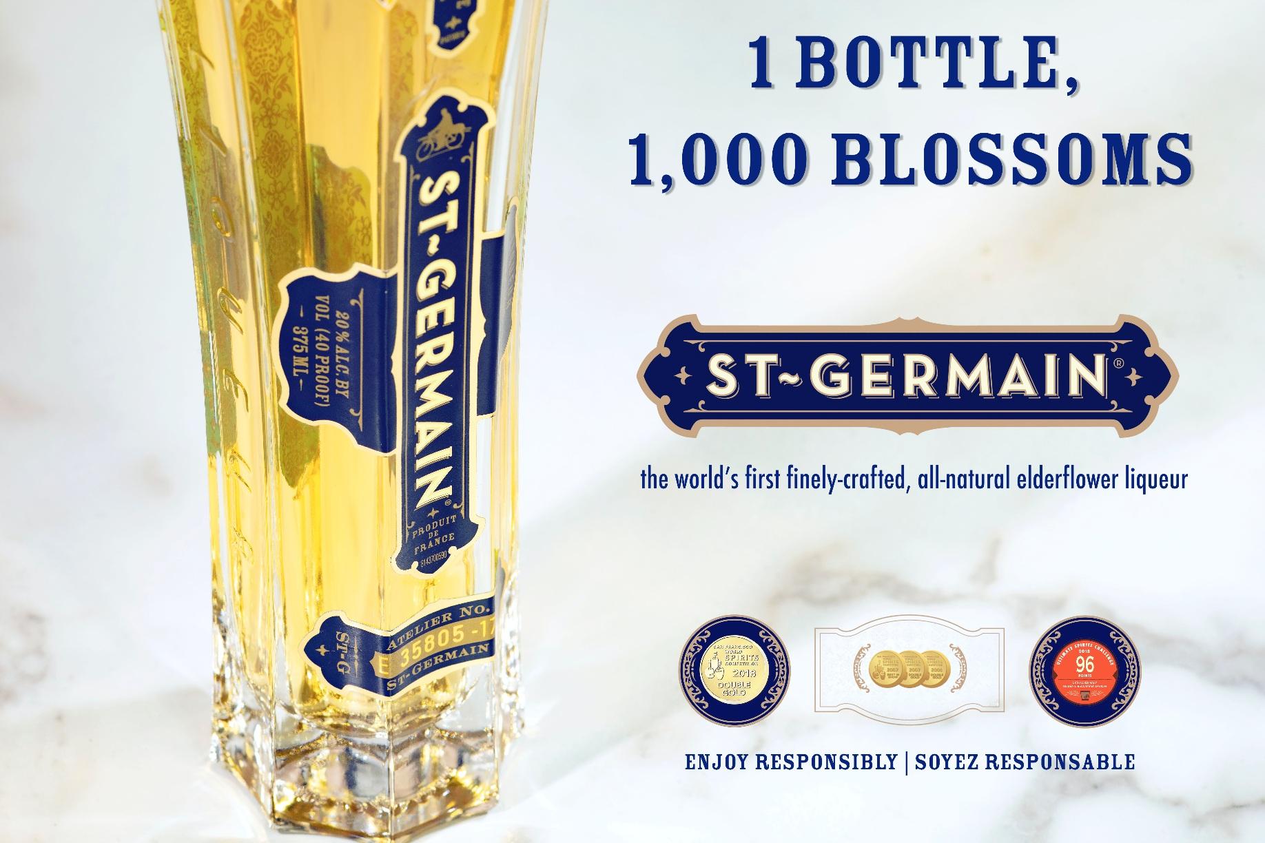 St-Germain elderflower liqueur - 1 bottle, 1,000 blossoms.