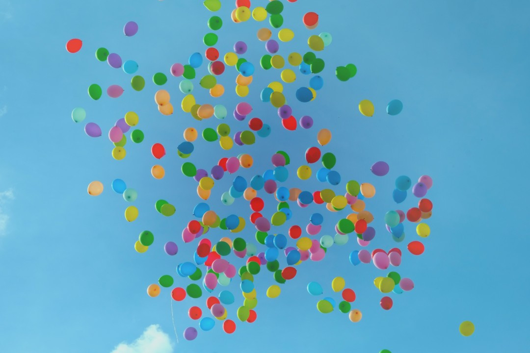 Happiness symbolized by balloons