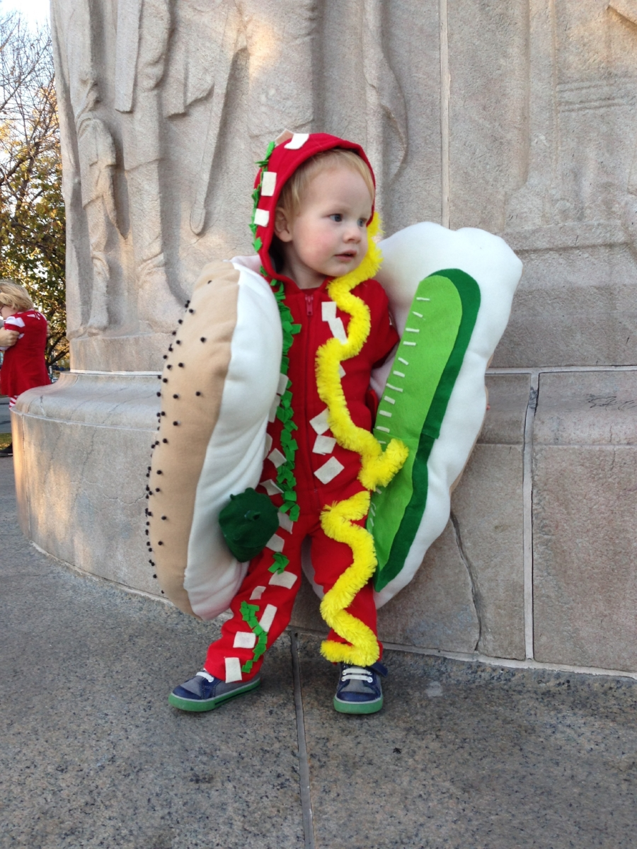 Owner Cait Sobotka's son in 2013 as a Chicago Style Hot Dog at the Parade.