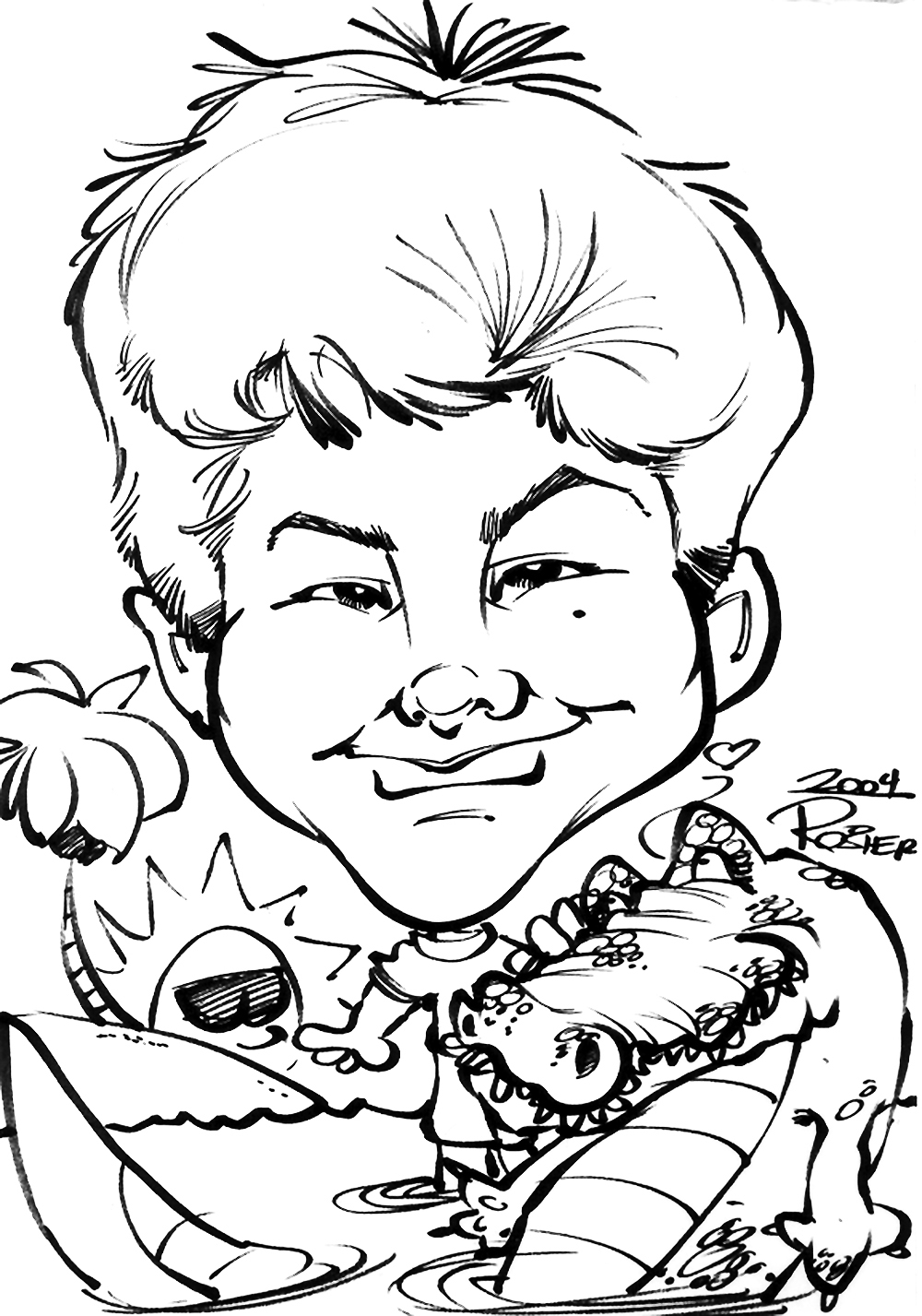 Traditional Hand-Drawn Caricature Sample 2