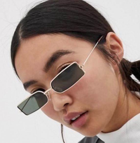asos narrow square metal fashion glasses