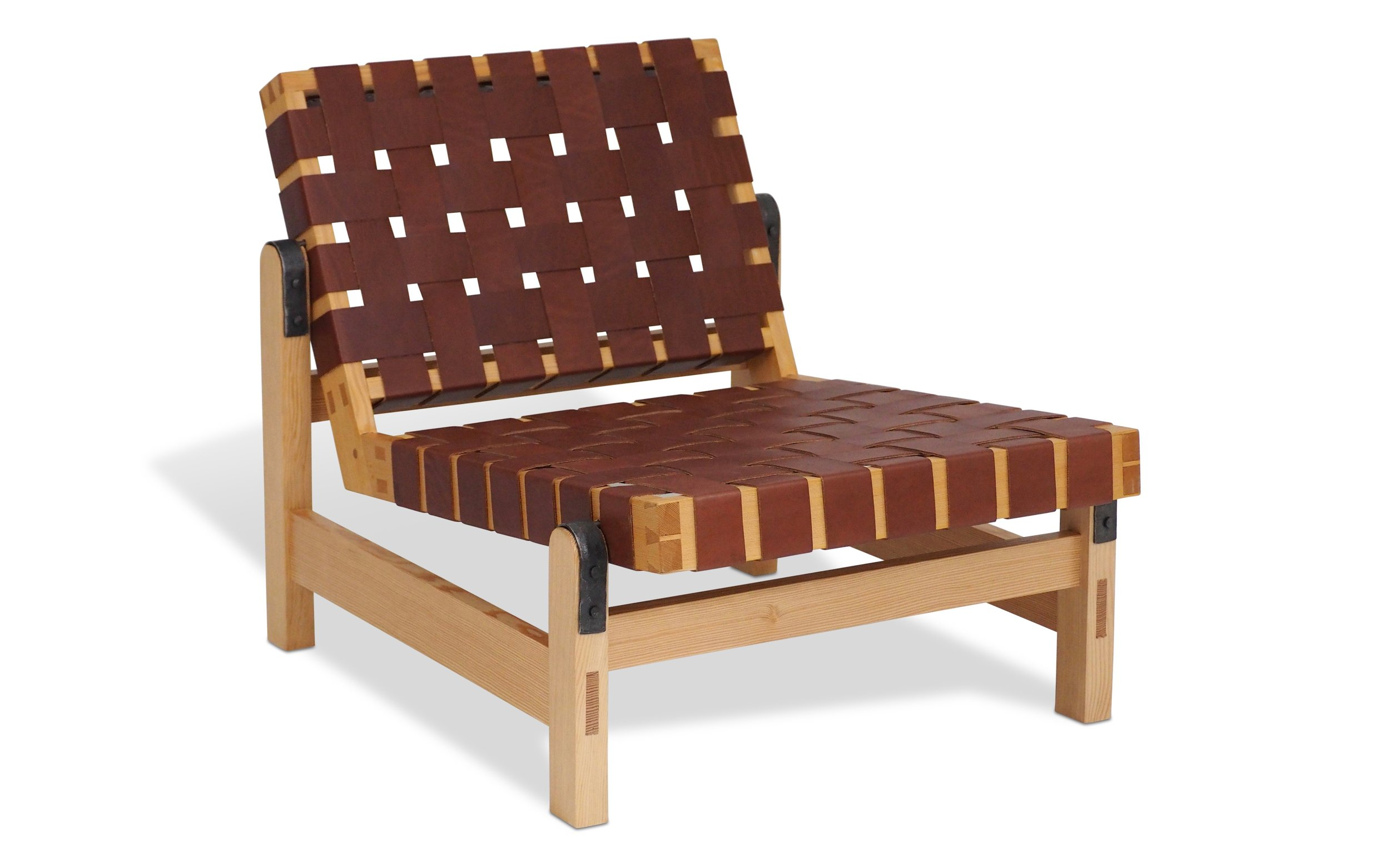 Woven leather lounge chair.