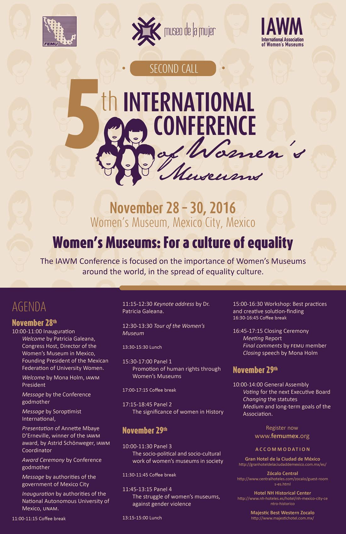 Poster for 5th International Conference of Women's Museums in Mexico City, Mexico