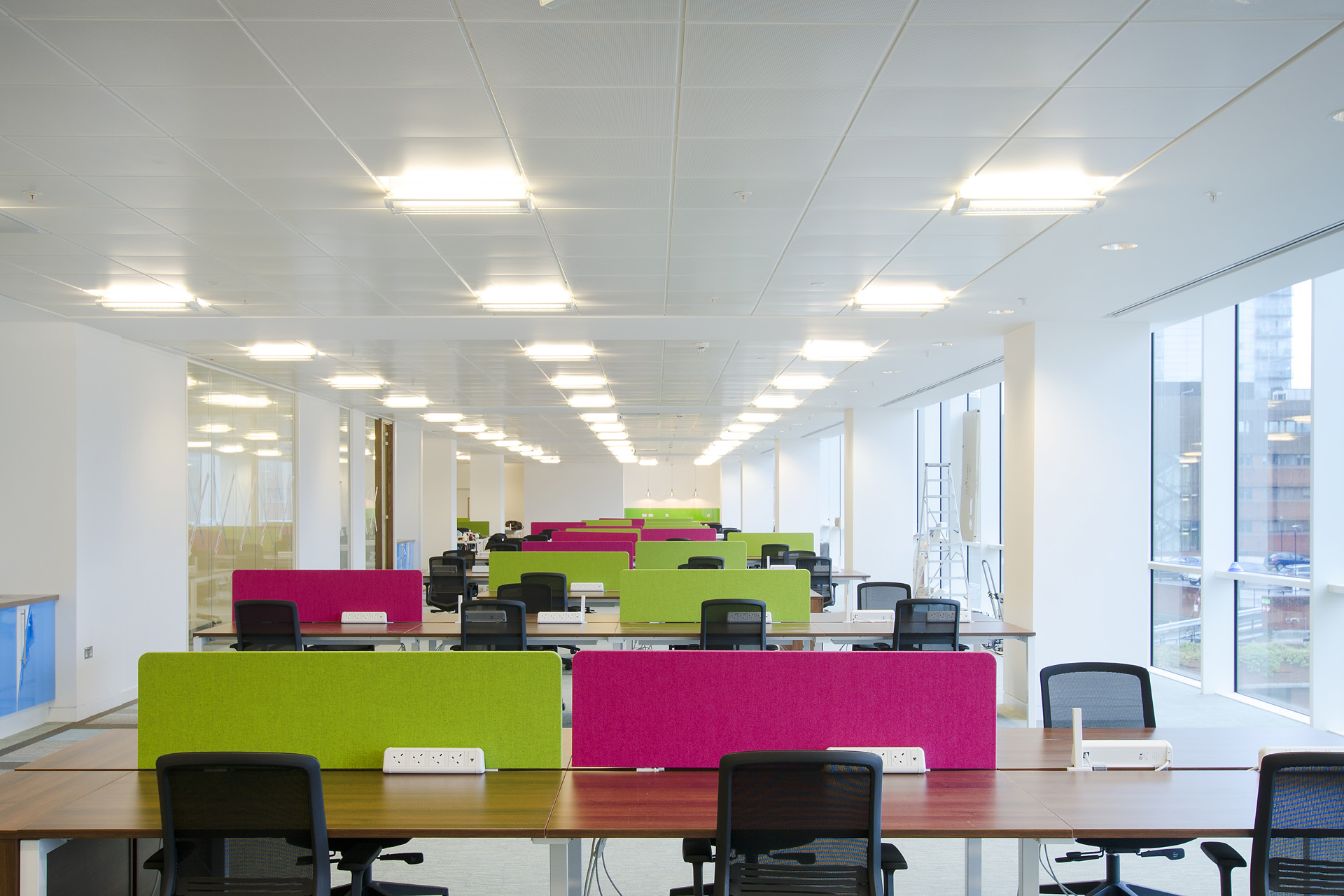 The open plan work space located on the fifth floor of Broad Gate in Leeds.