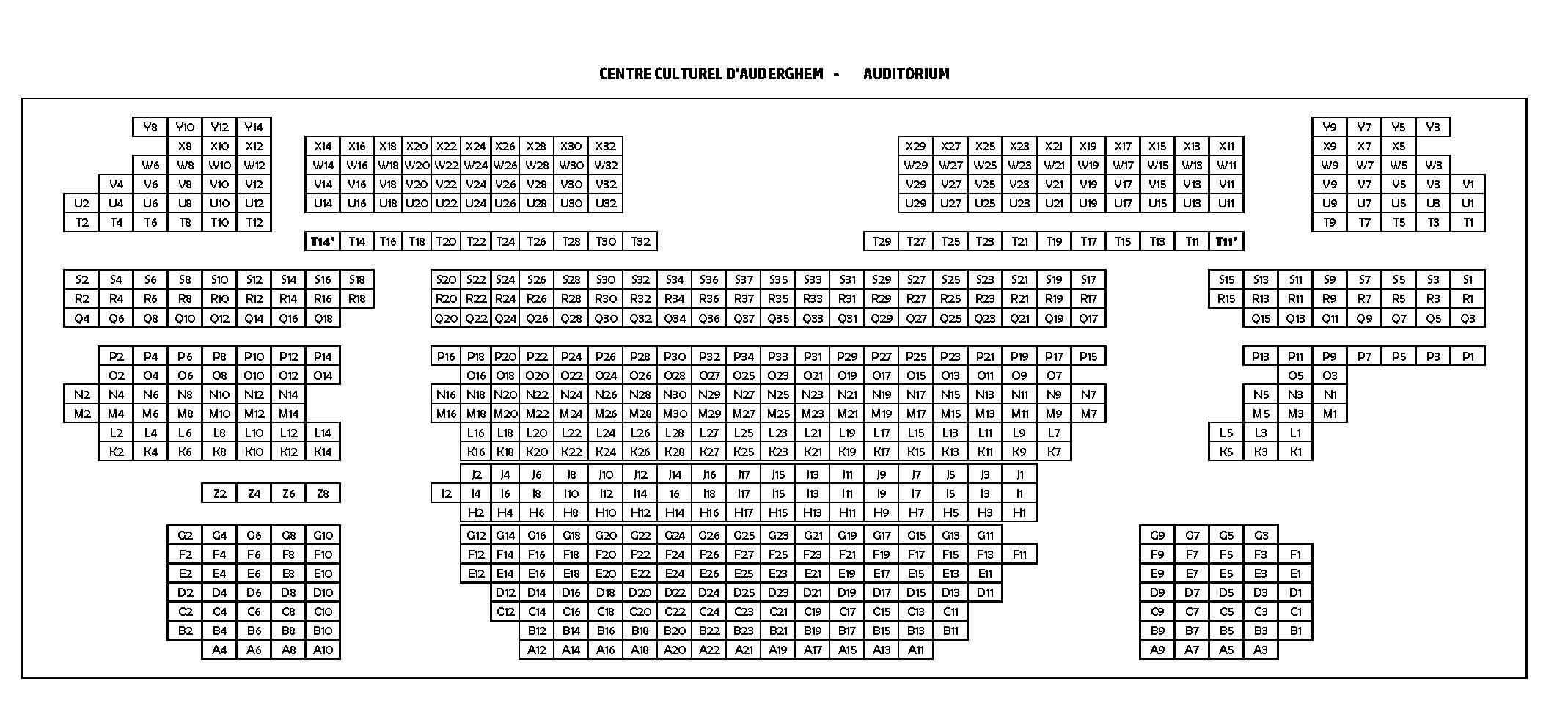 Plan de la salle du Centre Culturel d'Auderghem. Cliquez sur l'image pour visualiser (ou imprimer) le fichier pdf.