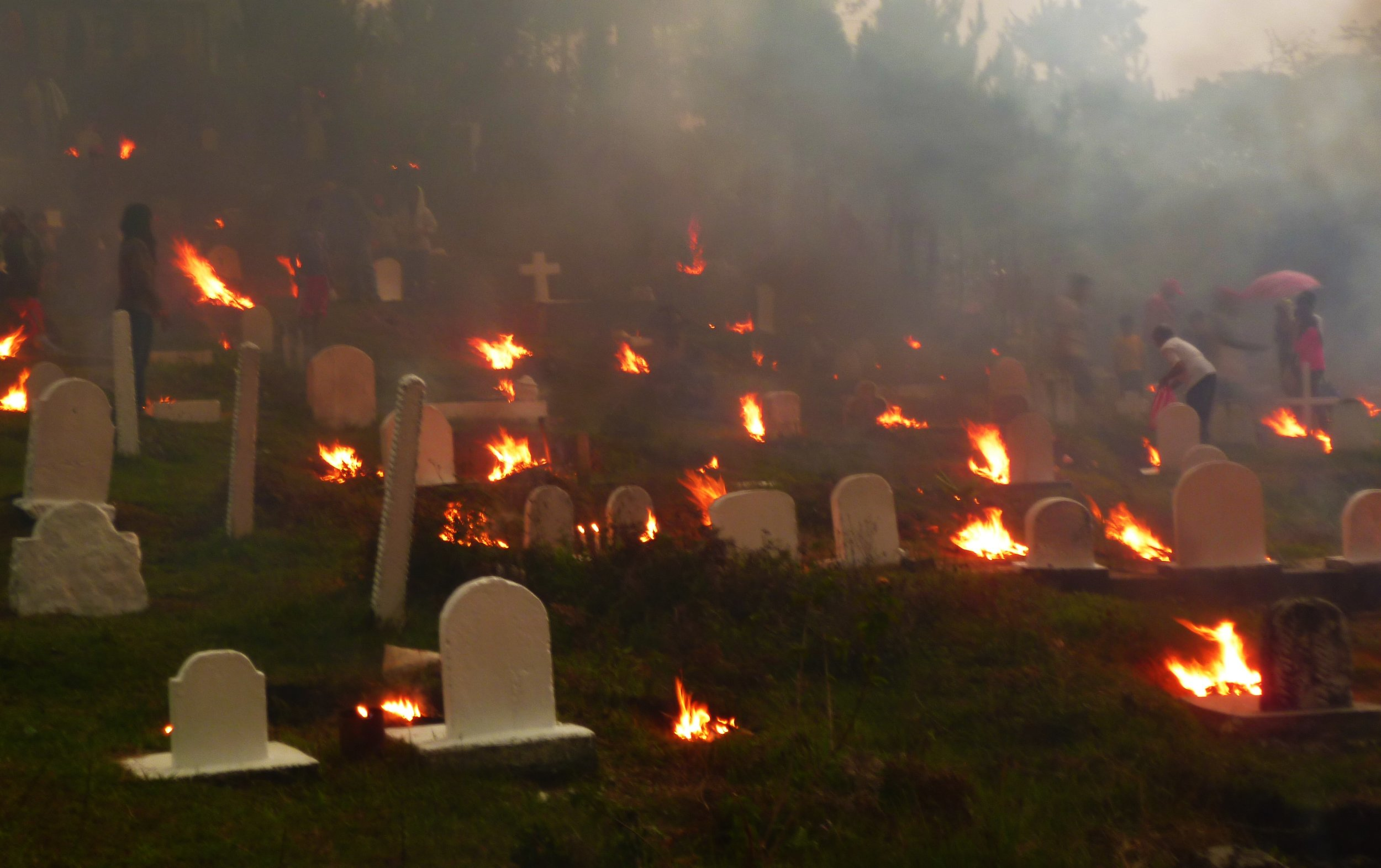 Burning graves at sunset...definitely not scary...