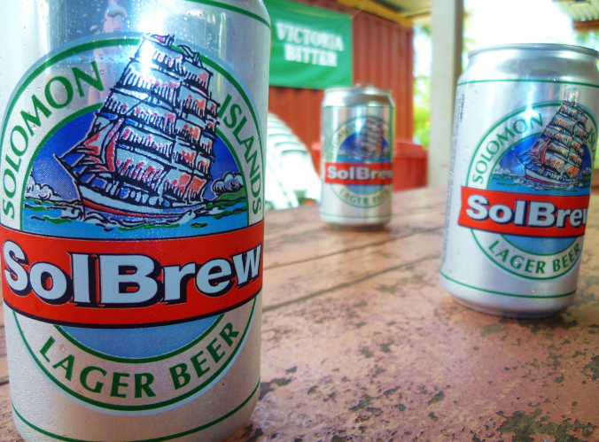 Pre-Drinks Tuvalu style...drinking beer from the Solomon Islands...