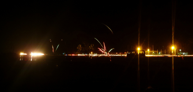 Tuvalu's New Year's fireworks on the runway...