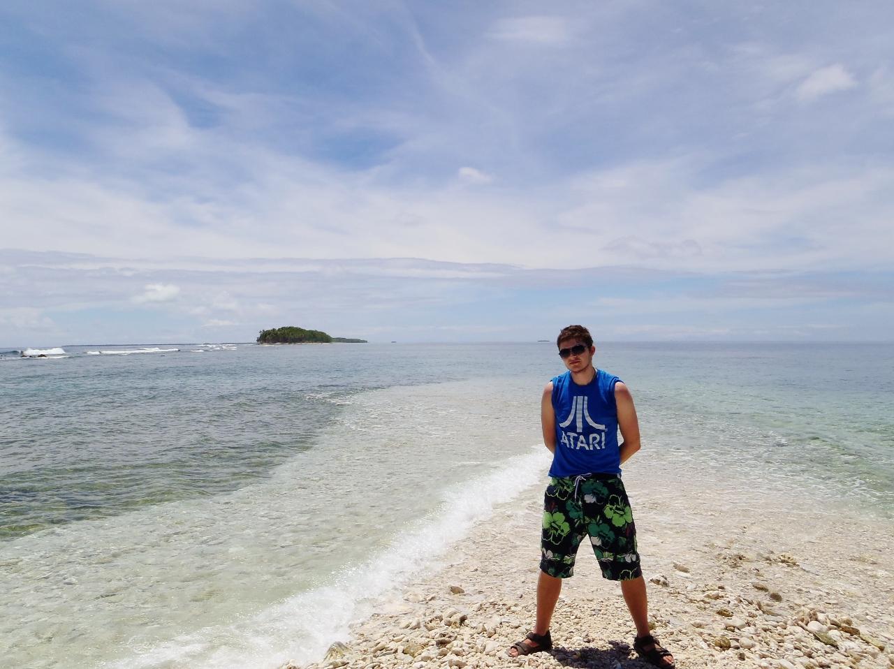 Posing at the South end of  Funafuti...