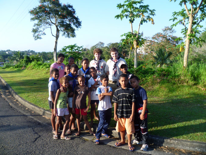 Out scavenger hunting with the Fiji Scouts...