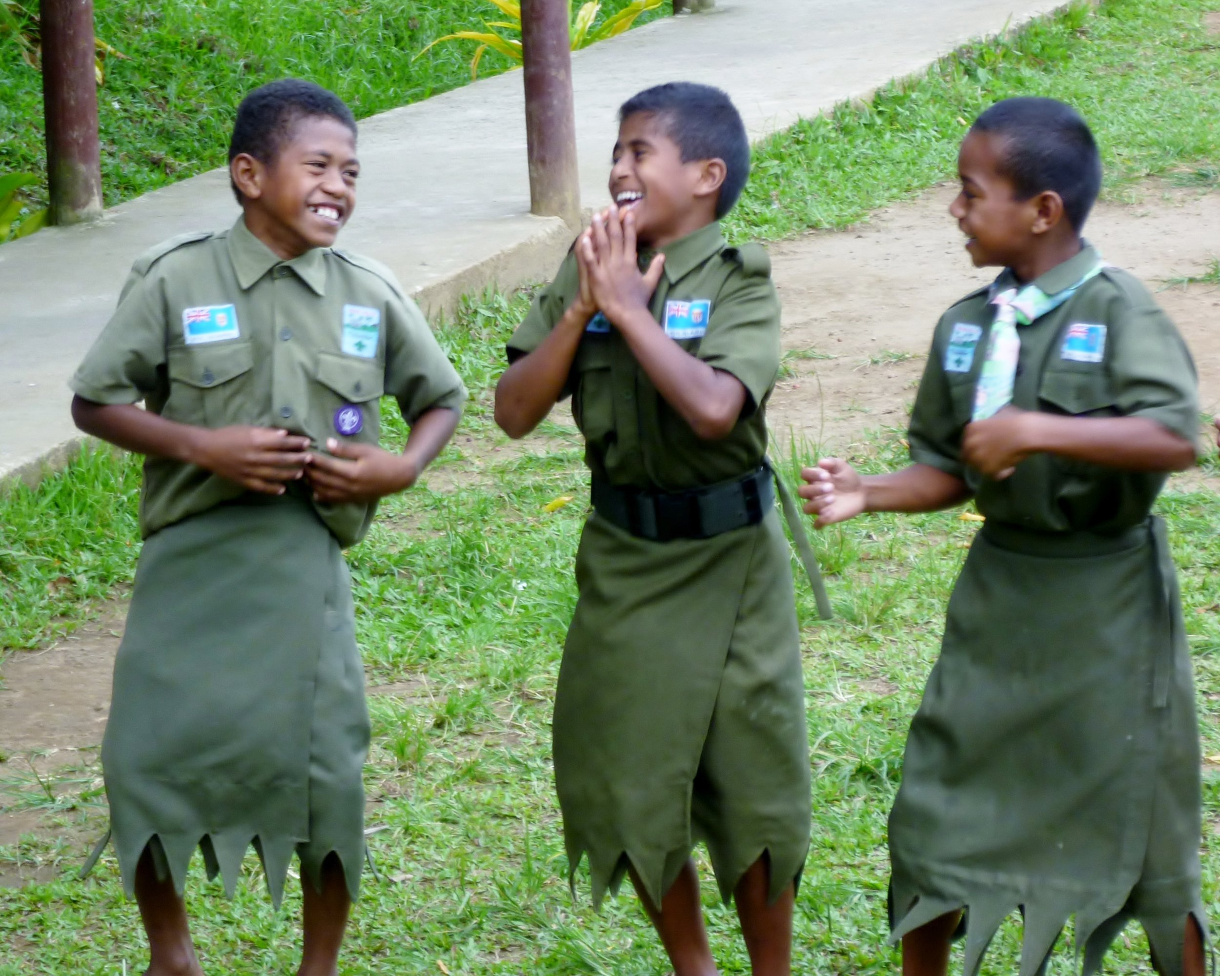 Fijian Scouts practicing their dance moves...