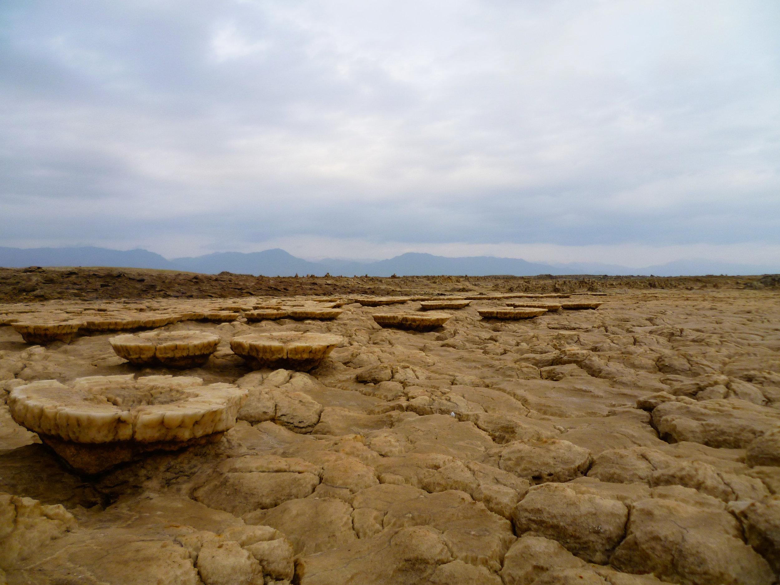 Strange mineral deposits in the Dallol...